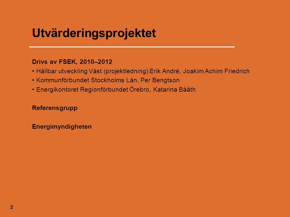 Utvärderingsprojektet Drivs av FSEK, 2010–2012 Hållbar utveckling Väst (projektledning) Erik André, Joakim Achim Friedrich Kommunförbundet Stockholms