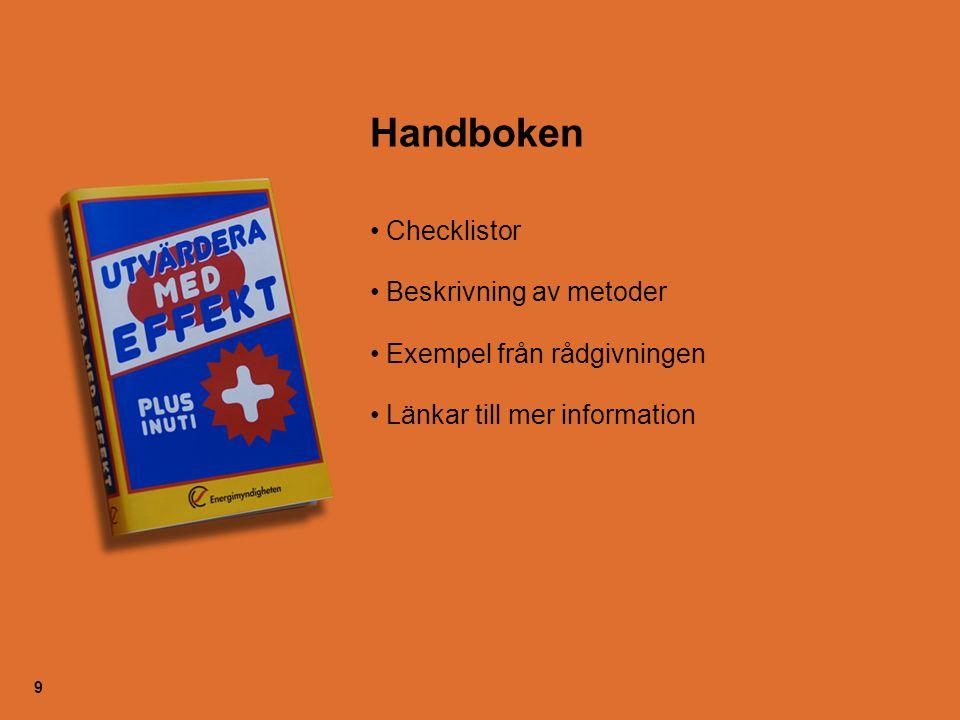 9 Handboken Checklistor Beskrivning av metoder Exempel från rådgivningen Länkar till mer information