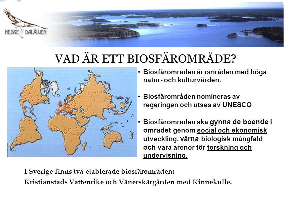 Biosfärområden är områden med höga natur- och kulturvärden. Biosfärområden nomineras av regeringen och utses av UNESCO Biosfärområden ska gynna de boe