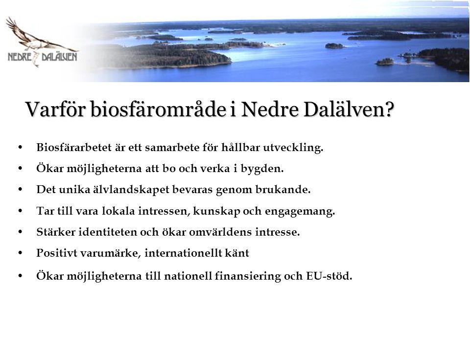 Varför biosfärområde i Nedre Dalälven? Varför biosfärområde i Nedre Dalälven? Biosfärarbetet är ett samarbete för hållbar utveckling. Ökar möjligheter