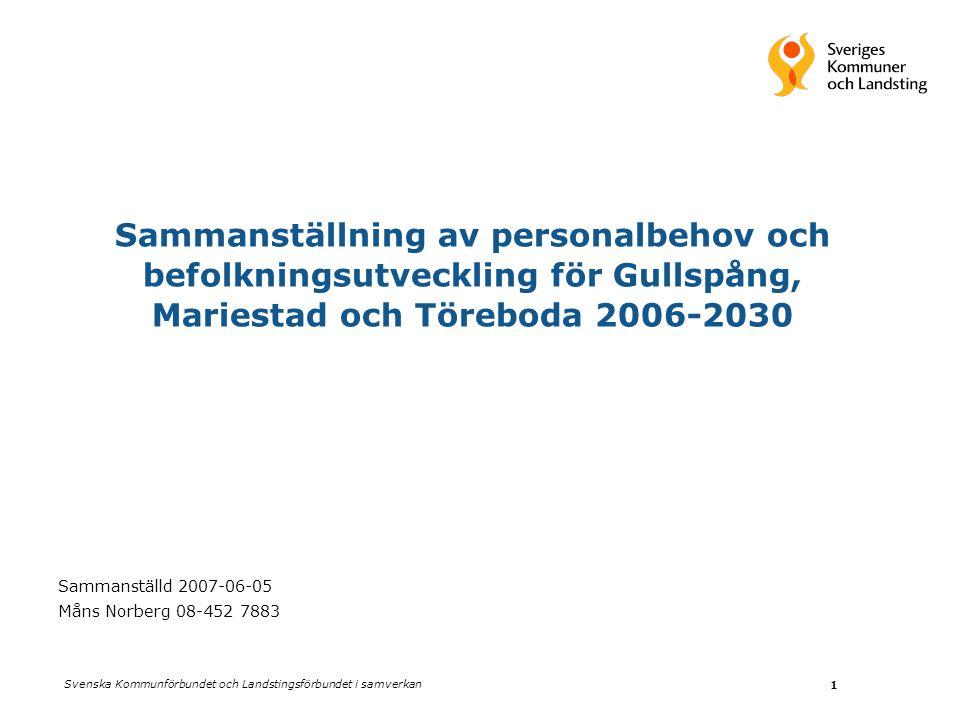 Svenska Kommunförbundet och Landstingsförbundet i samverkan 1 Sammanställning av personalbehov och befolkningsutveckling för Gullspång, Mariestad och Töreboda 2006-2030 Sammanställd 2007-06-05 Måns Norberg 08-452 7883