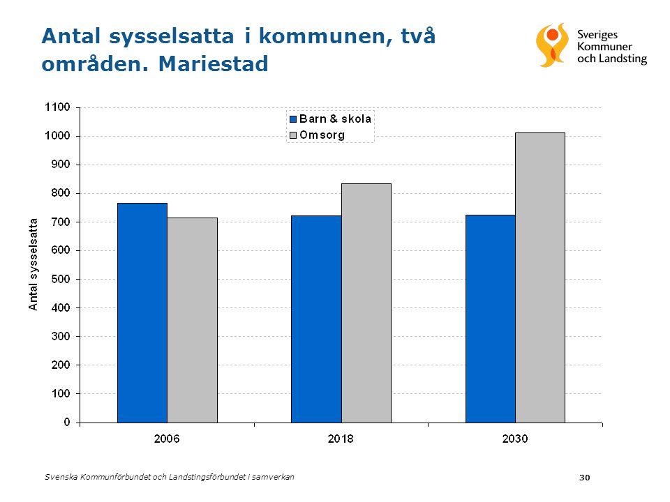 Svenska Kommunförbundet och Landstingsförbundet i samverkan 30 Antal sysselsatta i kommunen, två områden. Mariestad
