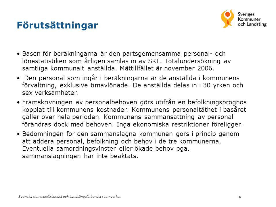 Svenska Kommunförbundet och Landstingsförbundet i samverkan 4 Förutsättningar Basen för beräkningarna är den partsgemensamma personal- och lönestatistiken som årligen samlas in av SKL.