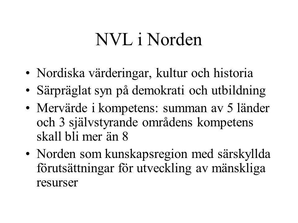 NVL i Norden Nordiska värderingar, kultur och historia Särpräglat syn på demokrati och utbildning Mervärde i kompetens: summan av 5 länder och 3 självstyrande områdens kompetens skall bli mer än 8 Norden som kunskapsregion med särskyllda förutsättningar för utveckling av mänskliga resurser