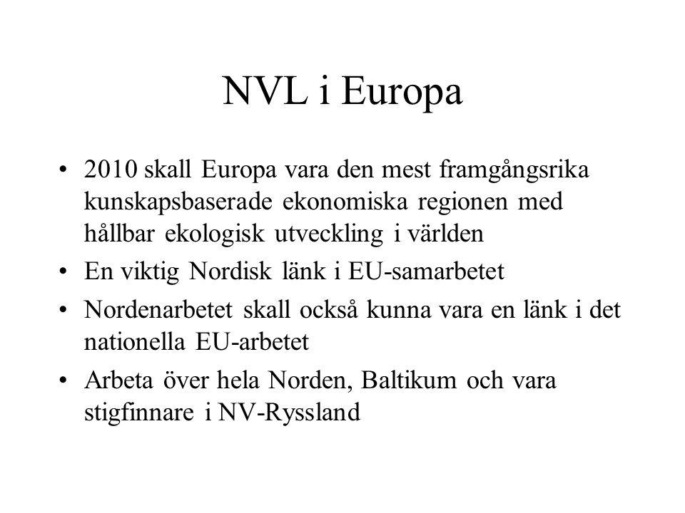 NVL i Europa 2010 skall Europa vara den mest framgångsrika kunskapsbaserade ekonomiska regionen med hållbar ekologisk utveckling i världen En viktig Nordisk länk i EU-samarbetet Nordenarbetet skall också kunna vara en länk i det nationella EU-arbetet Arbeta över hela Norden, Baltikum och vara stigfinnare i NV-Ryssland