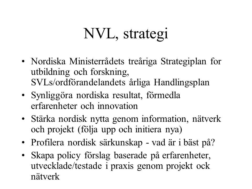 NVL, strategi Nordiska Ministerrådets treåriga Strategiplan for utbildning och forskning, SVLs/ordförandelandets årliga Handlingsplan Synliggöra nordiska resultat, förmedla erfarenheter och innovation Stärka nordisk nytta genom information, nätverk och projekt (följa upp och initiera nya) Profilera nordisk särkunskap - vad är i bäst på.