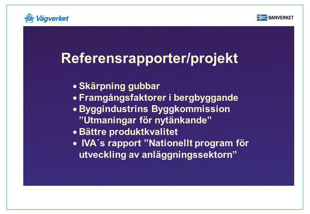 """Referensrapporter/projekt  Skärpning gubbar  Framgångsfaktorer i bergbyggande  Byggindustrins Byggkommission """"Utmaningar för nytänkande""""  Bättre p"""