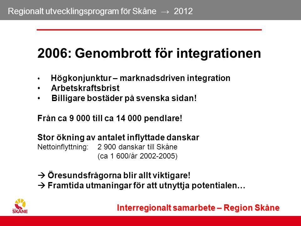 Regionalt utvecklingsprogram för Skåne → 2012 12 2006: Genombrott för integrationen Högkonjunktur – marknadsdriven integration Arbetskraftsbrist Billi