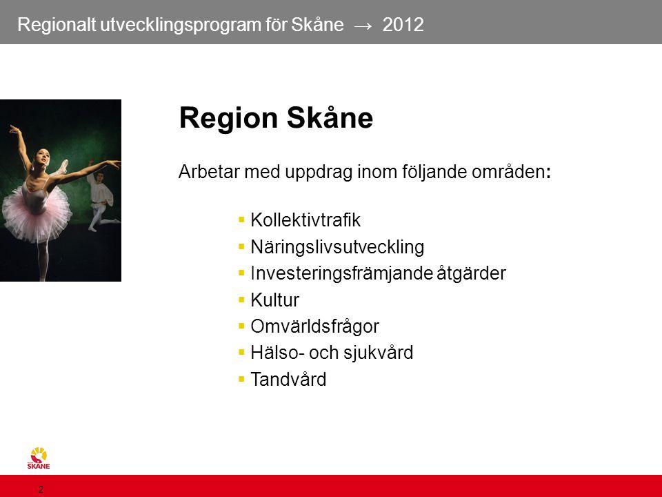 Regionalt utvecklingsprogram för Skåne → 2012 2 Arbetar med uppdrag inom följande områden:  Kollektivtrafik  Näringslivsutveckling  Investeringsfrä
