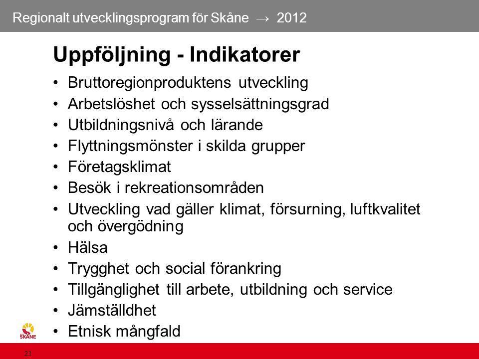 Regionalt utvecklingsprogram för Skåne → 2012 23 Uppföljning - Indikatorer Bruttoregionproduktens utveckling Arbetslöshet och sysselsättningsgrad Utbi