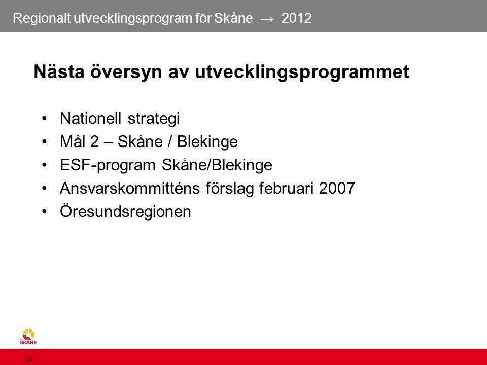Regionalt utvecklingsprogram för Skåne → 2012 24 Nästa översyn av utvecklingsprogrammet Nationell strategi Mål 2 – Skåne / Blekinge ESF-program Skåne/