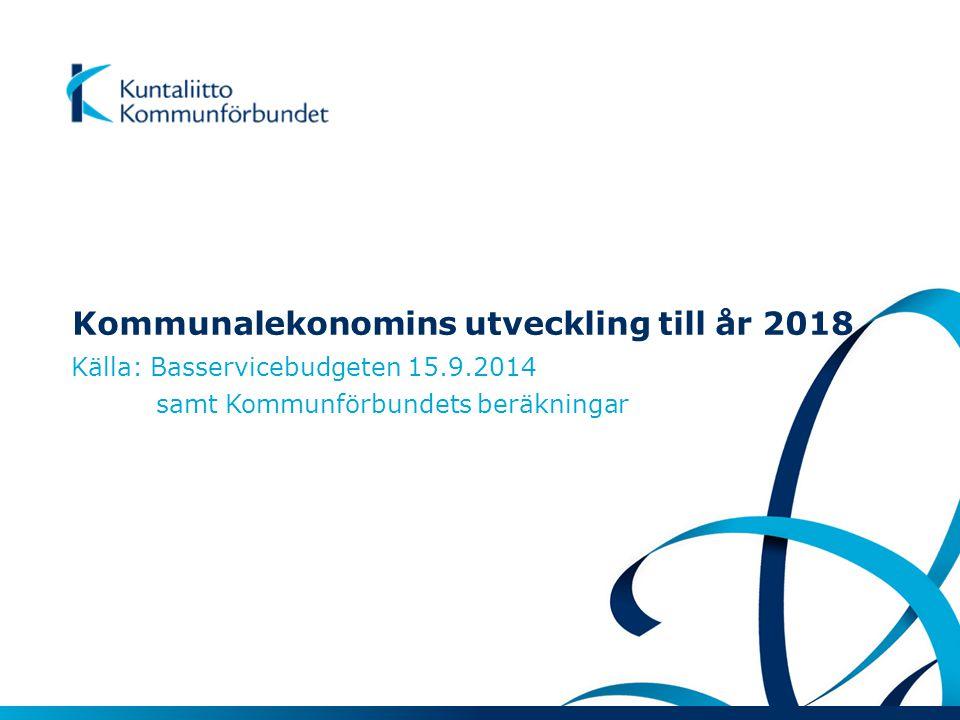 Kommunalekonomins utveckling till år 2018 Källa: Basservicebudgeten 15.9.2014 samt Kommunförbundets beräkningar