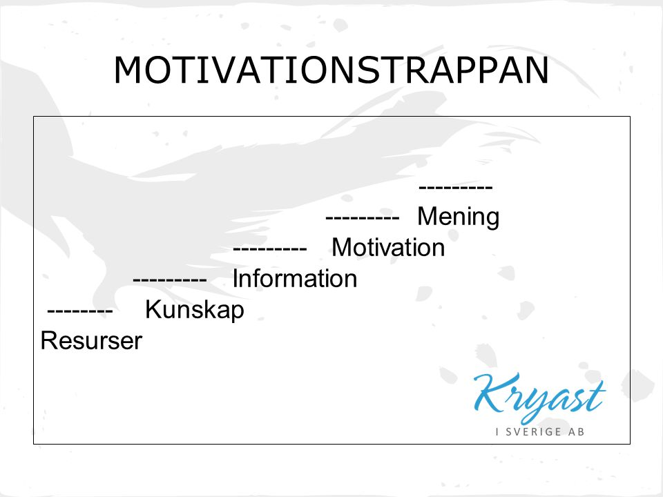 --------- --------- Mening --------- Motivation --------- Information -------- Kunskap Resurser MOTIVATIONSTRAPPAN