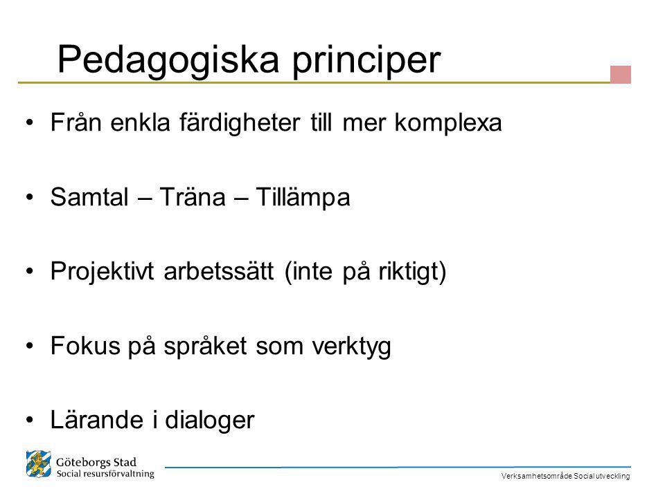 Verksamhetsområde Social utveckling Pedagogiska principer Från enkla färdigheter till mer komplexa Samtal – Träna – Tillämpa Projektivt arbetssätt (in