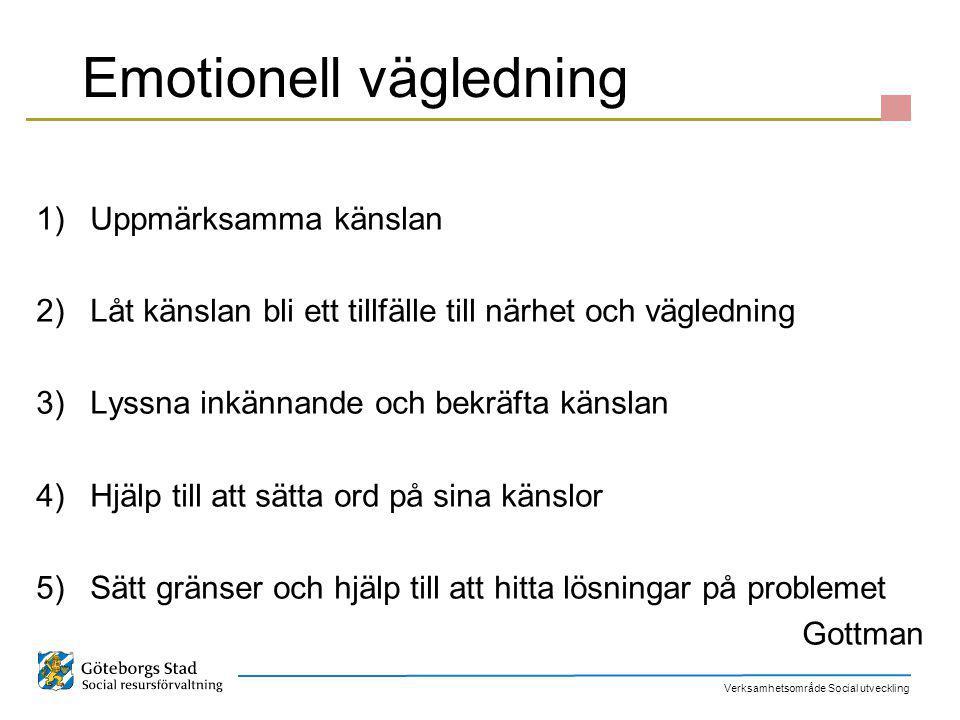 Verksamhetsområde Social utveckling Emotionell vägledning 1)Uppmärksamma känslan 2)Låt känslan bli ett tillfälle till närhet och vägledning 3)Lyssna i