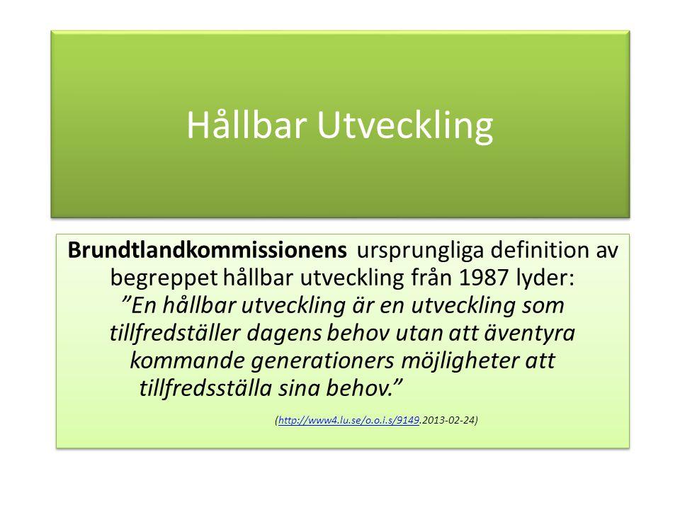 Hållbar Utveckling Brundtlandkommissionens ursprungliga definition av begreppet hållbar utveckling från 1987 lyder: En hållbar utveckling är en utveckling som tillfredställer dagens behov utan att äventyra kommande generationers möjligheter att tillfredsställa sina behov. (http://www4.lu.se/o.o.i.s/9149.2013-02-24)http://www4.lu.se/o.o.i.s/9149 Brundtlandkommissionens ursprungliga definition av begreppet hållbar utveckling från 1987 lyder: En hållbar utveckling är en utveckling som tillfredställer dagens behov utan att äventyra kommande generationers möjligheter att tillfredsställa sina behov. (http://www4.lu.se/o.o.i.s/9149.2013-02-24)http://www4.lu.se/o.o.i.s/9149