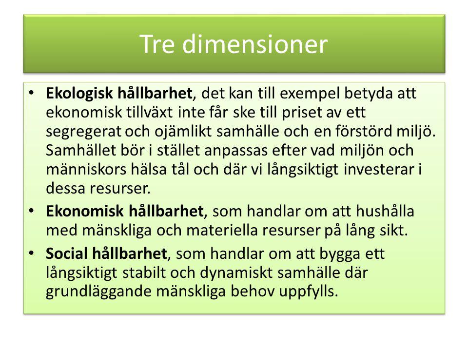 Tre dimensioner Ekologisk hållbarhet, det kan till exempel betyda att ekonomisk tillväxt inte får ske till priset av ett segregerat och ojämlikt samhälle och en förstörd miljö.
