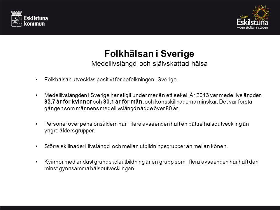 Folkhälsan i Sverige Medellivslängd och självskattad hälsa Folkhälsan utvecklas positivt för befolkningen i Sverige. Medellivslängden i Sverige har st