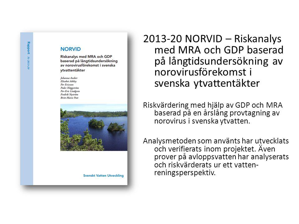 2013-20 NORVID – Riskanalys med MRA och GDP baserad på långtidsundersökning av norovirusförekomst i svenska ytvattentäkter Riskvärdering med hjälp av
