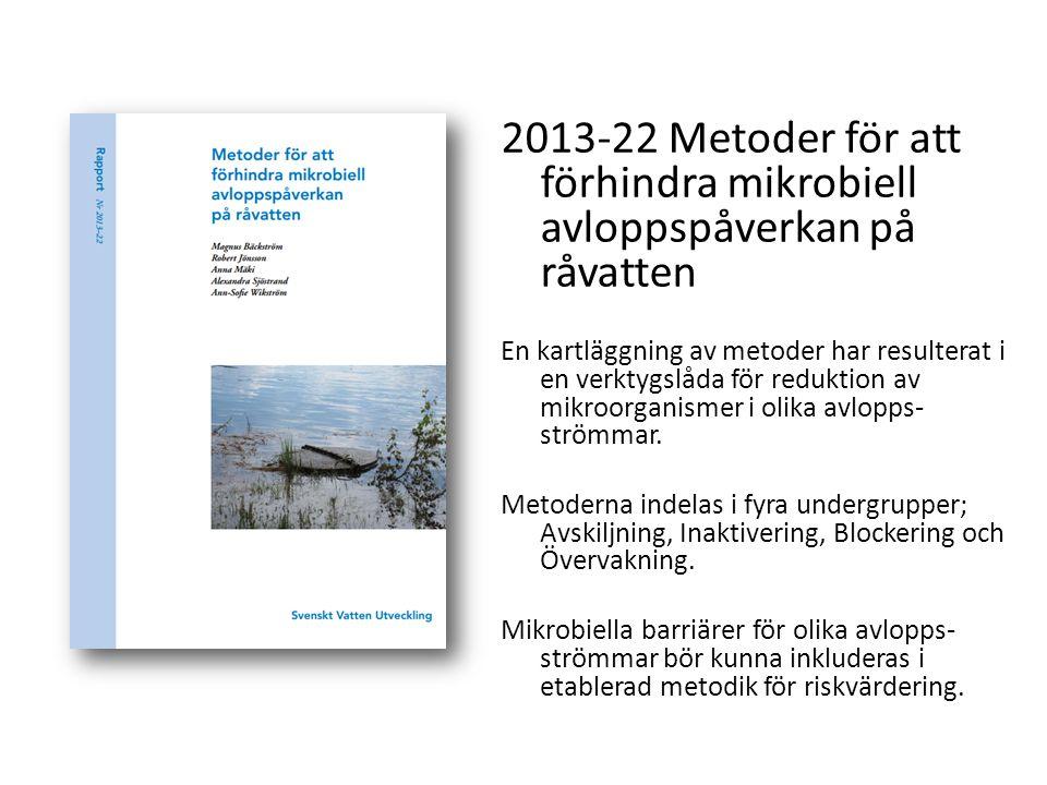 2013-22 Metoder för att förhindra mikrobiell avloppspåverkan på råvatten En kartläggning av metoder har resulterat i en verktygslåda för reduktion av