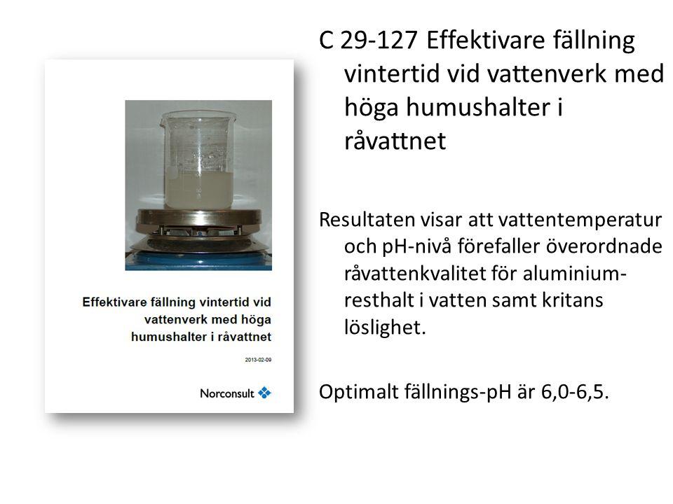 C 29-127 Effektivare fällning vintertid vid vattenverk med höga humushalter i råvattnet Resultaten visar att vattentemperatur och pH-nivå förefaller ö