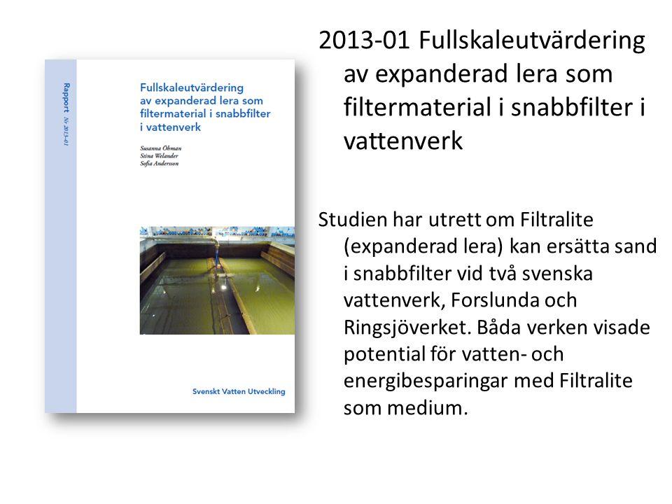 2013-01 Fullskaleutvärdering av expanderad lera som filtermaterial i snabbfilter i vattenverk Studien har utrett om Filtralite (expanderad lera) kan e