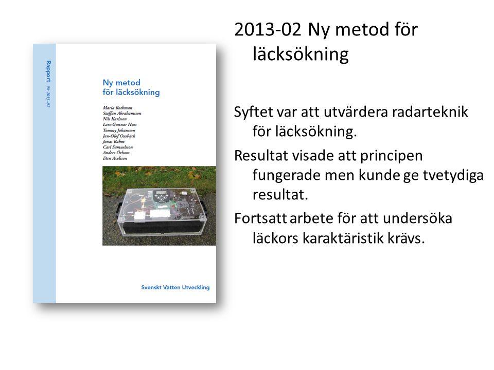 2013-02 Ny metod för läcksökning Syftet var att utvärdera radarteknik för läcksökning. Resultat visade att principen fungerade men kunde ge tvetydiga