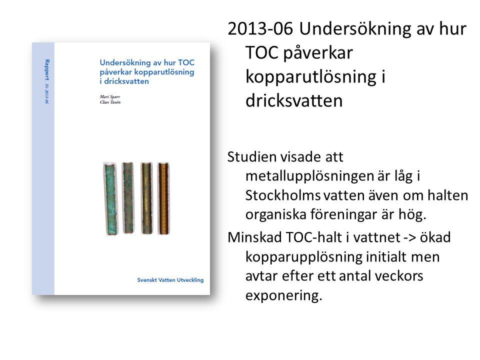 2013-06 Undersökning av hur TOC påverkar kopparutlösning i dricksvatten Studien visade att metallupplösningen är låg i Stockholms vatten även om halte