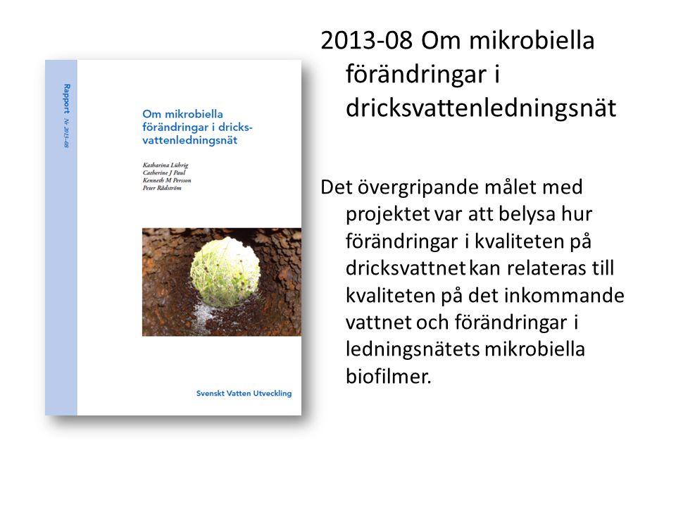 2013-08 Om mikrobiella förändringar i dricksvattenledningsnät Det övergripande målet med projektet var att belysa hur förändringar i kvaliteten på dri