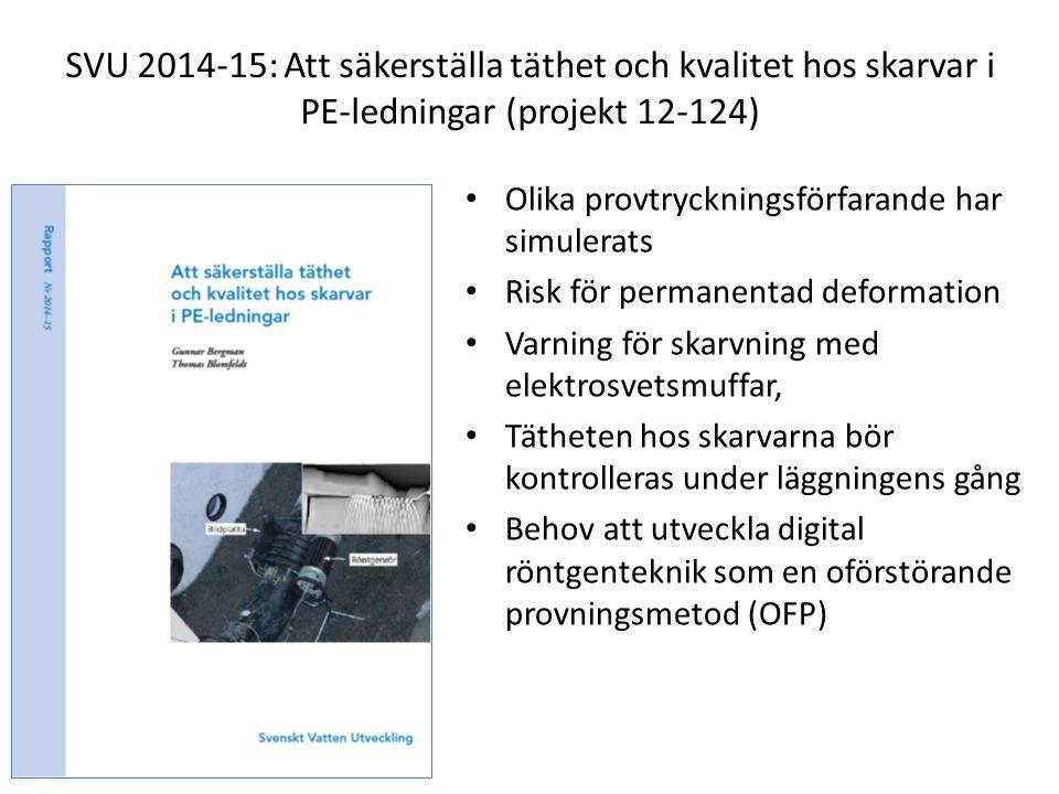 SVU 2014-15: Att säkerställa täthet och kvalitet hos skarvar i PE-ledningar (projekt 12-124) Olika provtryckningsförfarande har simulerats Risk för pe