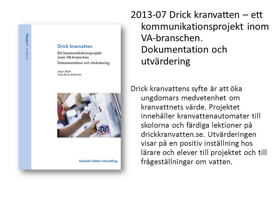 2013-07 Drick kranvatten – ett kommunikationsprojekt inom VA-branschen. Dokumentation och utvärdering Drick kranvattens syfte är att öka ungdomars med
