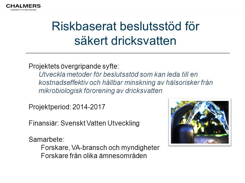 Riskbaserat beslutsstöd för säkert dricksvatten Projektets övergripande syfte: Utveckla metoder för beslutsstöd som kan leda till en kostnadseffektiv