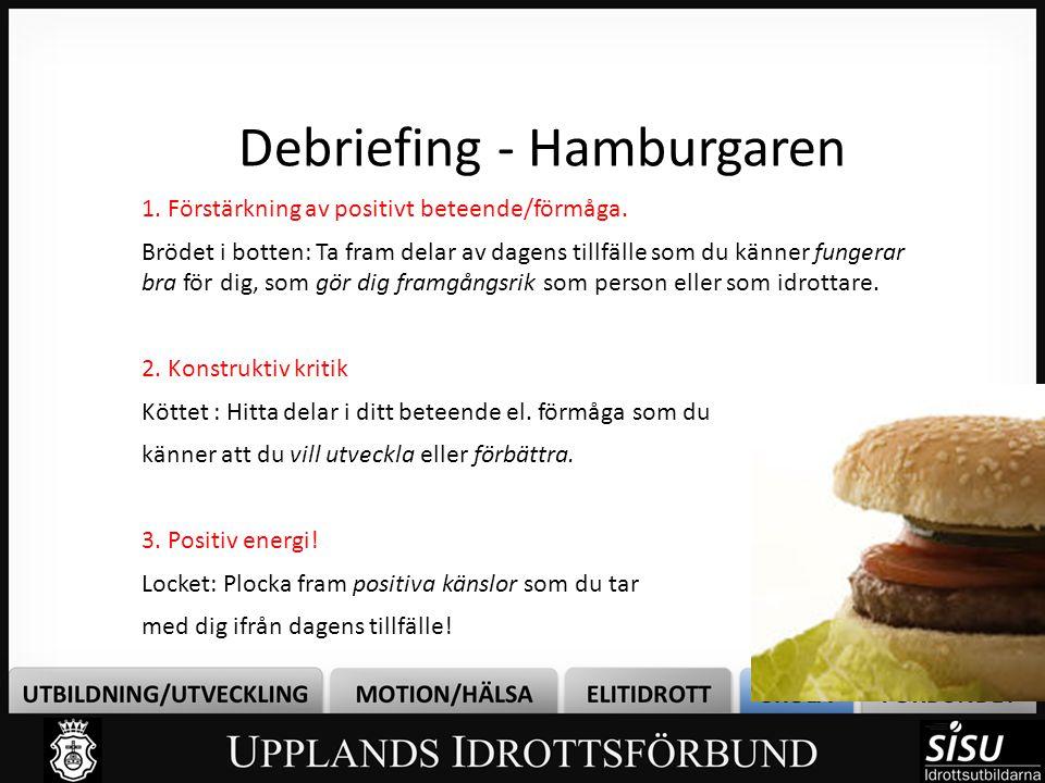 Debriefing - Hamburgaren 1. Förstärkning av positivt beteende/förmåga.