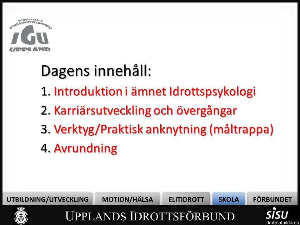 Dagens innehåll: 1. Introduktion i ämnet Idrottspsykologi 2.