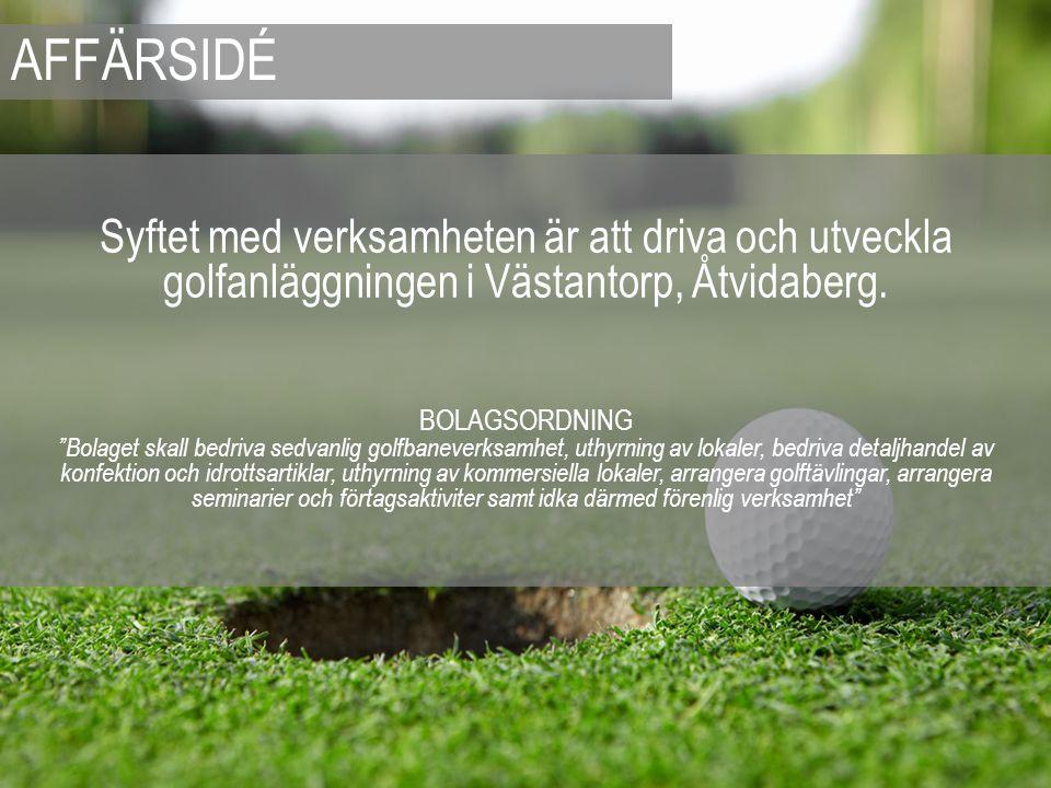 """Syftet med verksamheten är att driva och utveckla golfanläggningen i Västantorp, Åtvidaberg. BOLAGSORDNING """"Bolaget skall bedriva sedvanlig golfbaneve"""