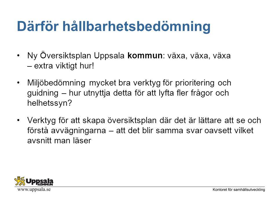 Därför hållbarhetsbedömning Ny Översiktsplan Uppsala kommun: växa, växa, växa – extra viktigt hur! Miljöbedömning mycket bra verktyg för prioritering