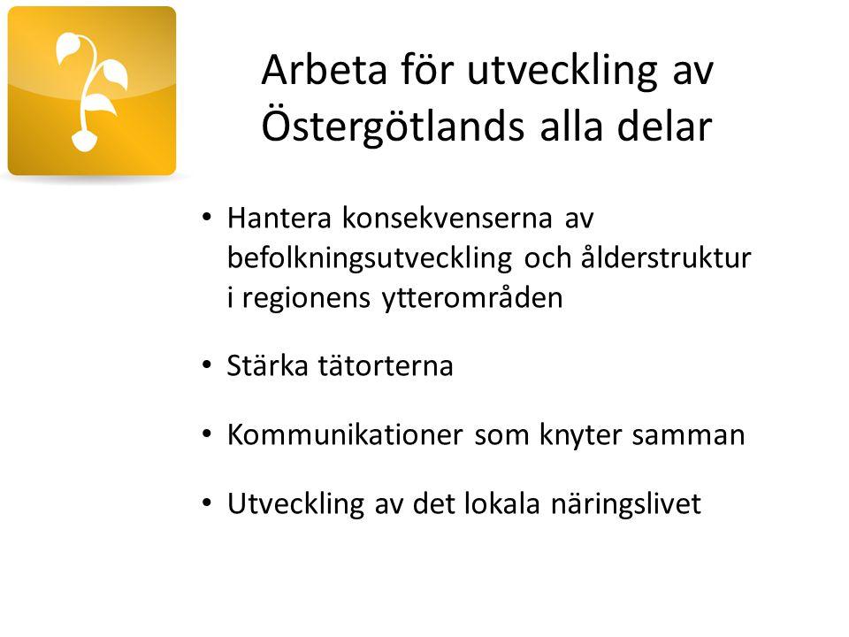 Arbeta för utveckling av Östergötlands alla delar Hantera konsekvenserna av befolkningsutveckling och ålderstruktur i regionens ytterområden Stärka tä