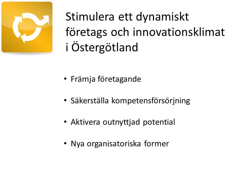 Stimulera ett dynamiskt företags och innovationsklimat i Östergötland Främja företagande Säkerställa kompetensförsörjning Aktivera outnyttjad potential Nya organisatoriska former