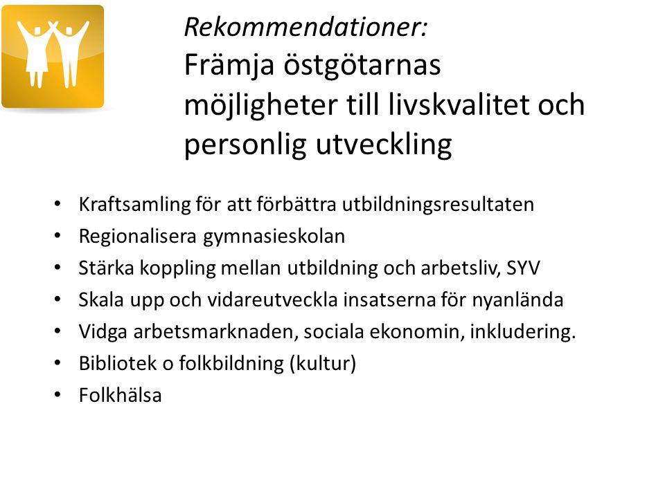 Rekommendationer: Främja östgötarnas möjligheter till livskvalitet och personlig utveckling Kraftsamling för att förbättra utbildningsresultaten Regio