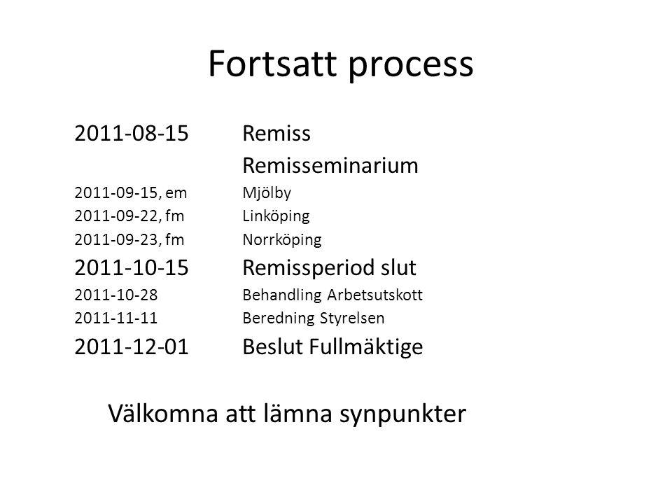 Fortsatt process 2011-08-15 Remiss Remisseminarium 2011-09-15, emMjölby 2011-09-22, fmLinköping 2011-09-23, fmNorrköping 2011-10-15 Remissperiod slut 2011-10-28 Behandling Arbetsutskott 2011-11-11 Beredning Styrelsen 2011-12-01 Beslut Fullmäktige Välkomna att lämna synpunkter