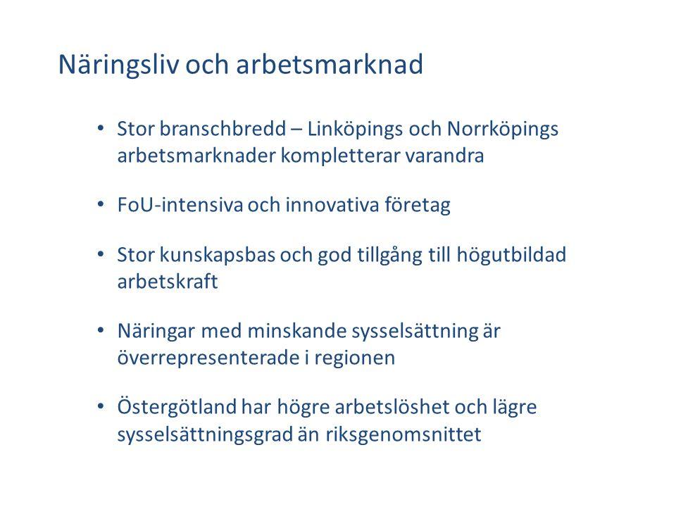 Näringsliv och arbetsmarknad Stor branschbredd – Linköpings och Norrköpings arbetsmarknader kompletterar varandra FoU-intensiva och innovativa företag