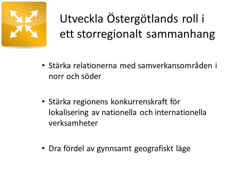 Utveckla Östergötlands roll i ett storregionalt sammanhang Stärka relationerna med samverkansområden i norr och söder Stärka regionens konkurrenskraft