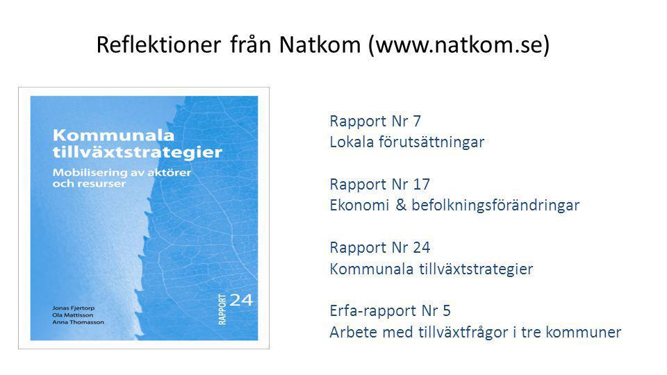 Reflektioner från Natkom (www.natkom.se) Rapport Nr 7 Lokala förutsättningar Rapport Nr 17 Ekonomi & befolkningsförändringar Rapport Nr 24 Kommunala tillväxtstrategier Erfa-rapport Nr 5 Arbete med tillväxtfrågor i tre kommuner