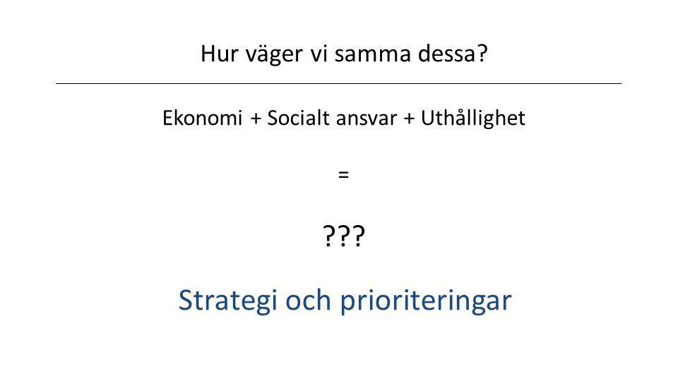 Hur väger vi samma dessa? Ekonomi + Socialt ansvar + Uthållighet = ??? Strategi och prioriteringar
