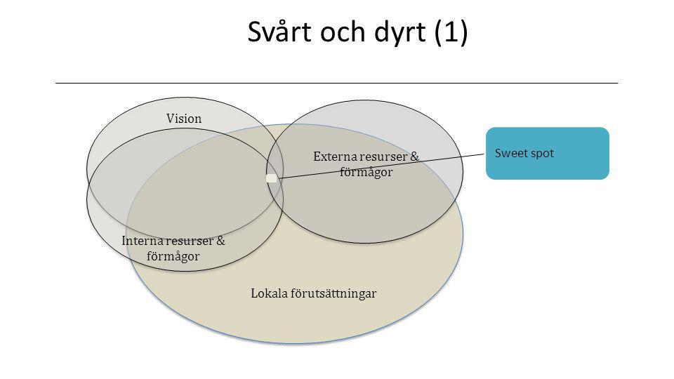 Svårt och dyrt (1) Lokala förutsättningar Vision Externa resurser & förmågor Interna resurser & förmågor Sweet spot