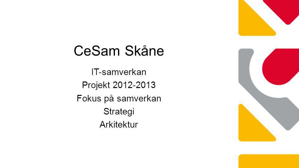 IT-samverkan Projekt 2012-2013 Fokus på samverkan Strategi Arkitektur CeSam Skåne