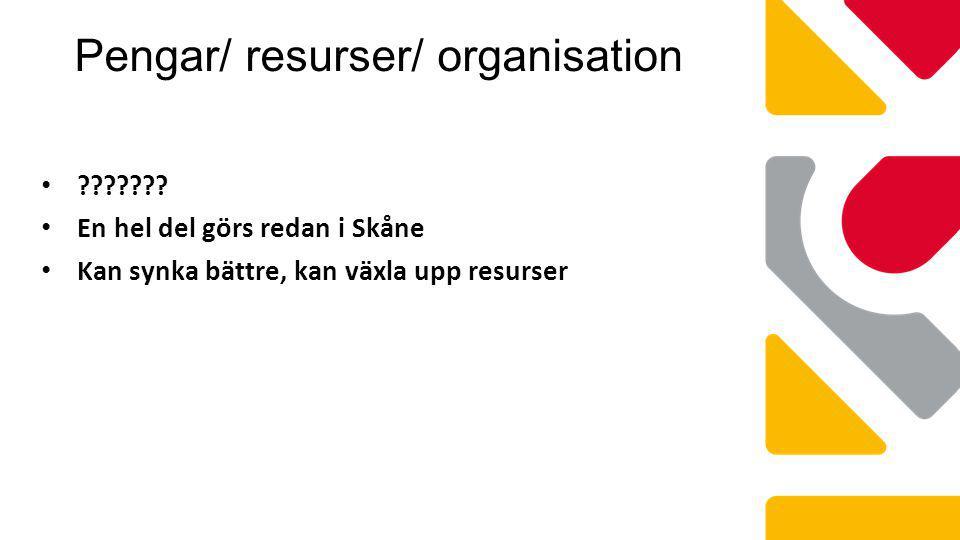 Pengar/ resurser/ organisation ??????? En hel del görs redan i Skåne Kan synka bättre, kan växla upp resurser