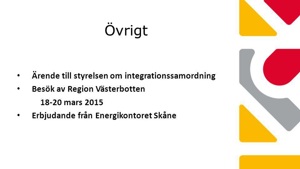 Övrigt Ärende till styrelsen om integrationssamordning Besök av Region Västerbotten 18-20 mars 2015 Erbjudande från Energikontoret Skåne