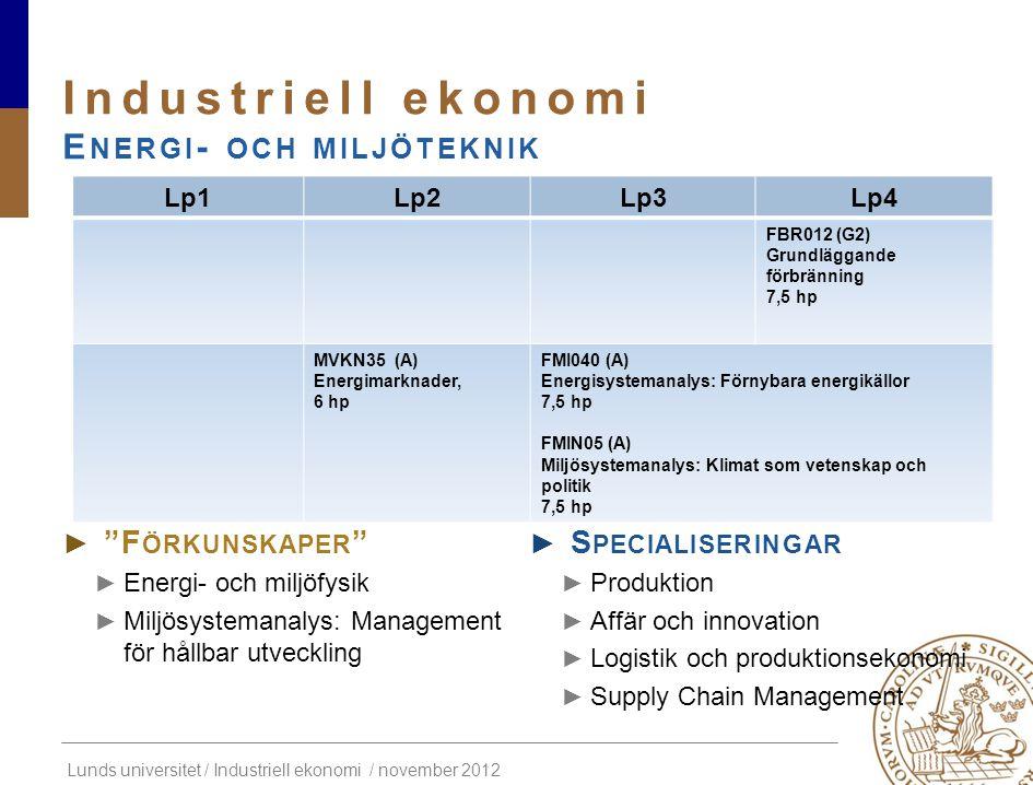 """Lunds universitet / Industriell ekonomi / november 2012 ► """"F ÖRKUNSKAPER """" ► Energi- och miljöfysik ► Miljösystemanalys: Management för hållbar utveck"""