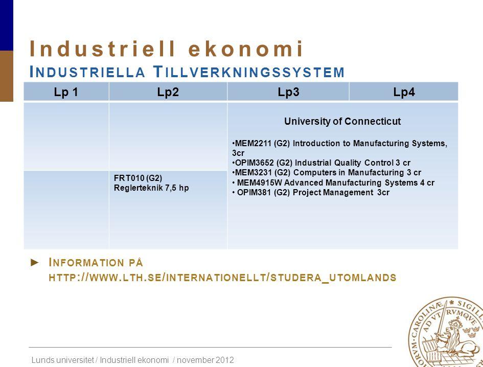 Lunds universitet / Industriell ekonomi / november 2012 ► A NSÖKNING HÖSTTERMINEN ► I NFORMATION PÅ HTTP :// WWW. LTH. SE / INTERNATIONELLT / STUDERA